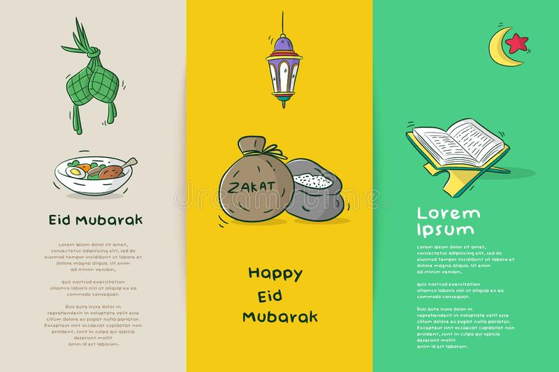 Happy eid mubarak stock illustration