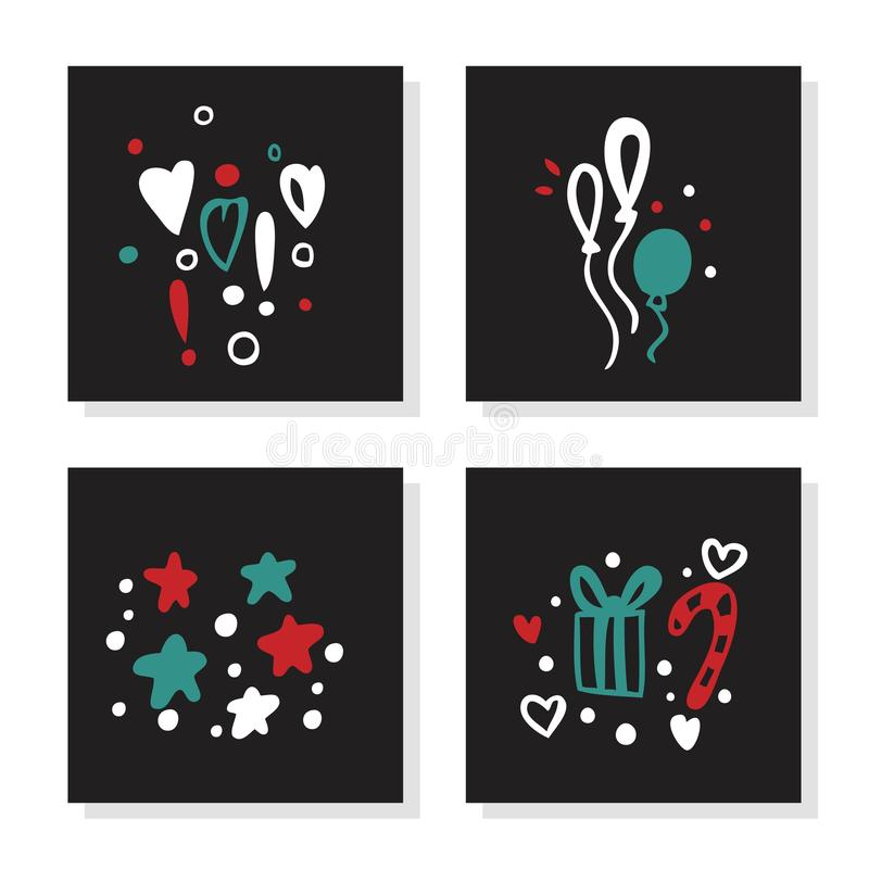Set of greeting card for Merry Christmas, New Year. Christmas gift, stars, heart royalty free stock photos