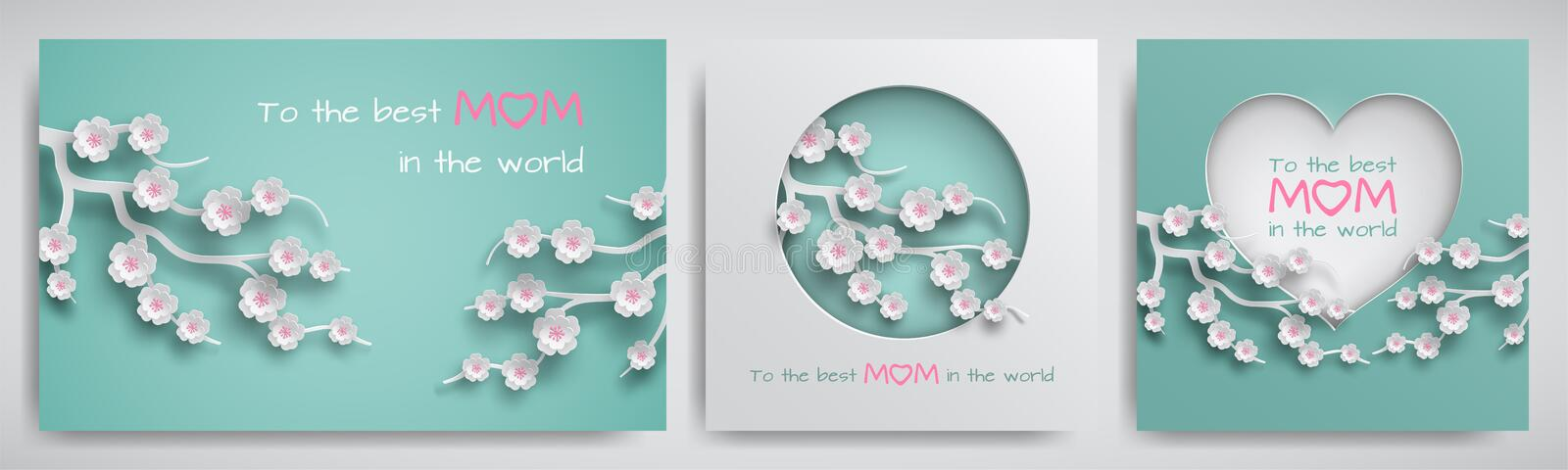 Set of greeting card for mother`s day with congratulations text. Cuted paper circle and heart decorated branch of cherry flowers stock illustration