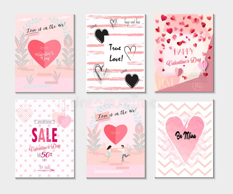 2019 Set of Greeting card, Poster, Flyer, Sale Banner, Voucher, Vector Template Trendy Design with `LOVE` concept, Romance Modern. Abstract Poster, Watercolor royalty free illustration