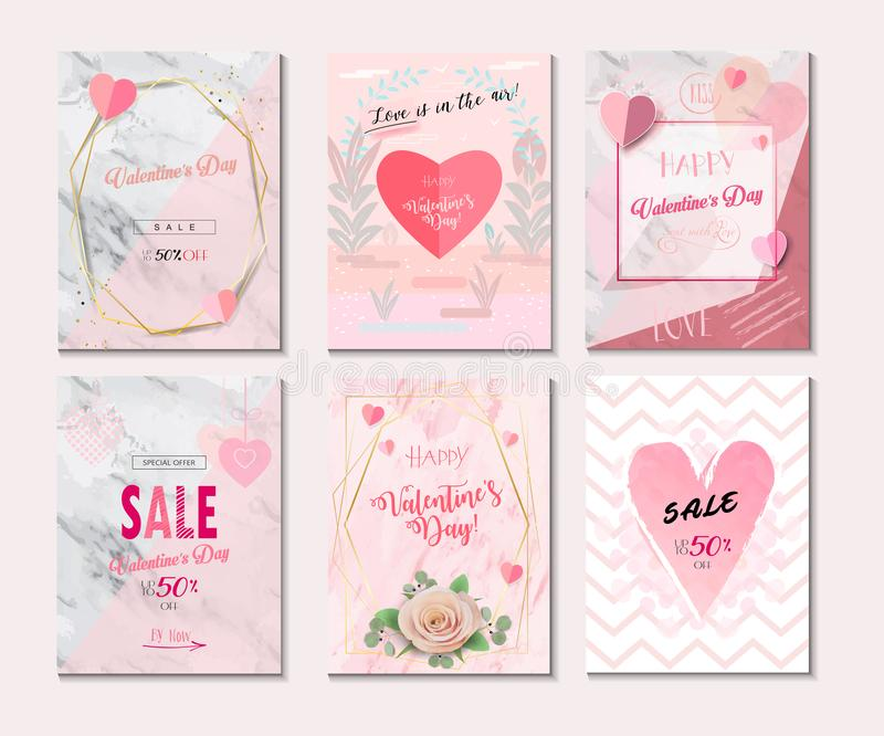 2019 Set of Greeting card, Poster, Flyer, Sale Banner, Voucher, Vector Template Trendy Design with `LOVE` concept, Romance Modern vector illustration