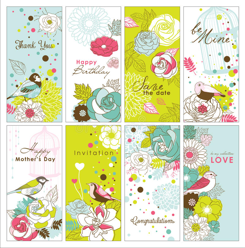 Set of greeting cards. With beautiful floral and birds royalty free illustration