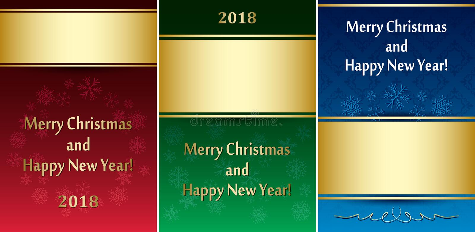 Set of greeting cards for christmas - vector leaflets stock illustration