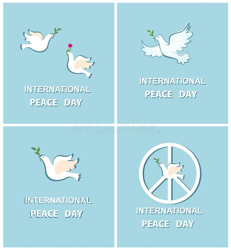 Set of greeting cards with doves for international peace day stock download set of greeting cards with doves for international peace day stock vector illustration of m4hsunfo Images