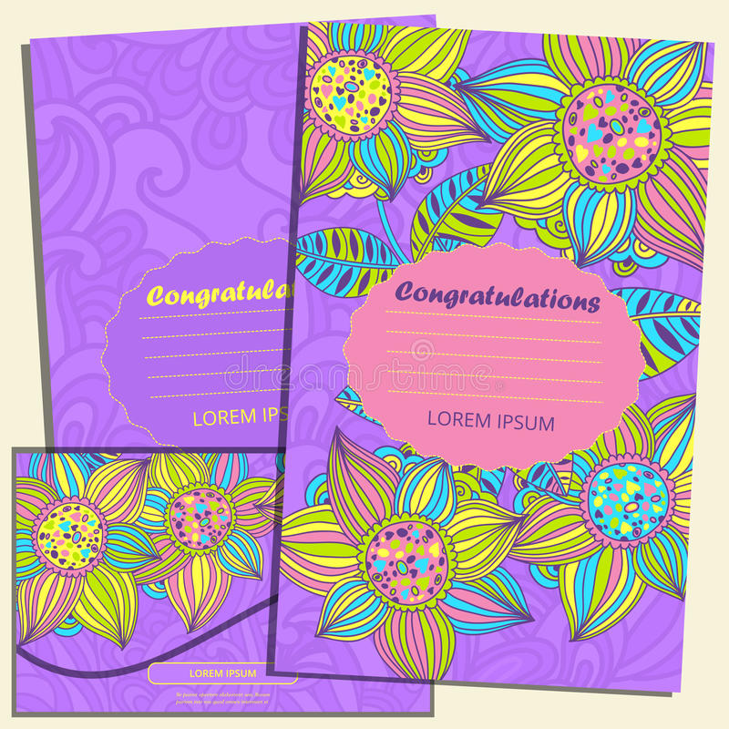 Set of greeting cards and envelope in the luxurious style of the childre royalty free illustration