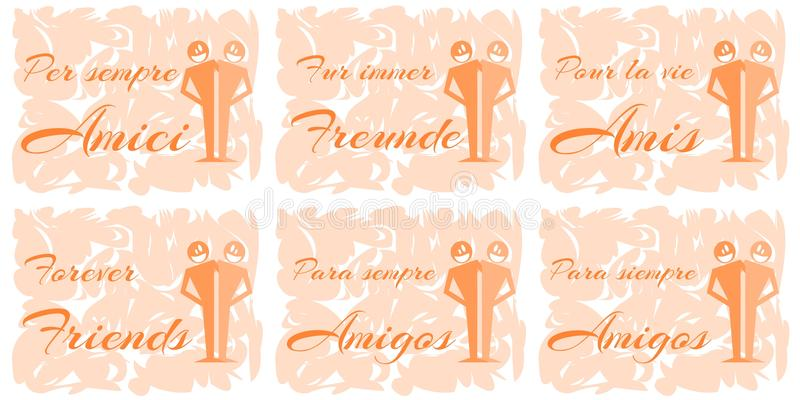 Set of greeting cards about friendship stock vector illustration download set of greeting cards about friendship stock vector illustration of portuguese german m4hsunfo