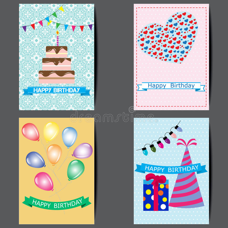 A set of greeting cards, Happy birthday colorful card design royalty free illustration