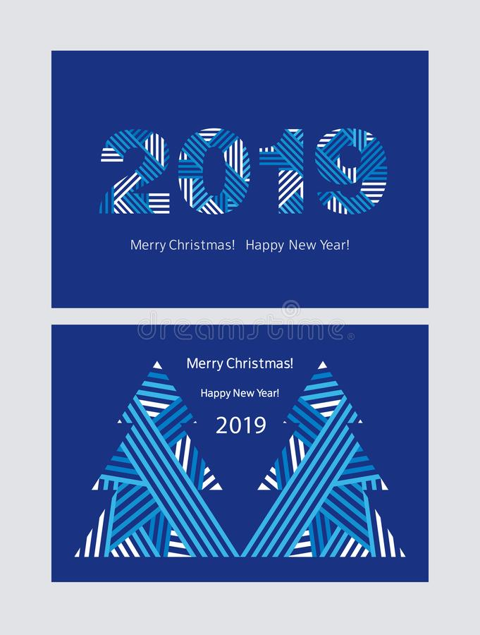 Set of Greeting cards. Happy New Year 2019. Merry Christmas. Blue background. Vector stock illustration