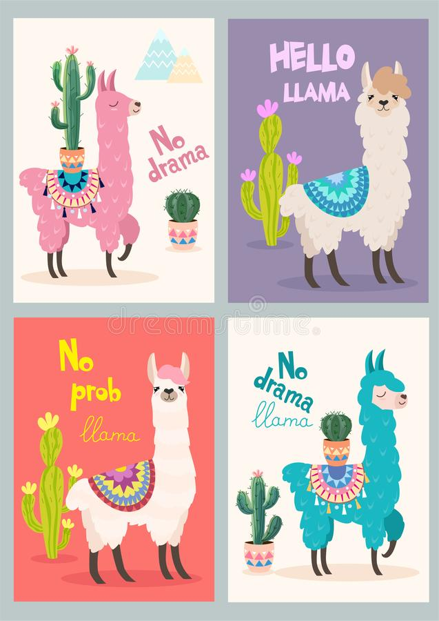 Set of greeting cards with llama. Stylized cartoon llama with ornament design and cactus. Vector poster. Set of greeting cards with llama. Stylized cartoon stock illustration