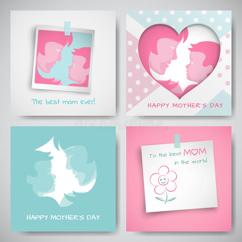 Set of greeting cards for mothers day women and baby silhouettes download set of greeting cards for mothers day women and baby silhouettes m4hsunfo