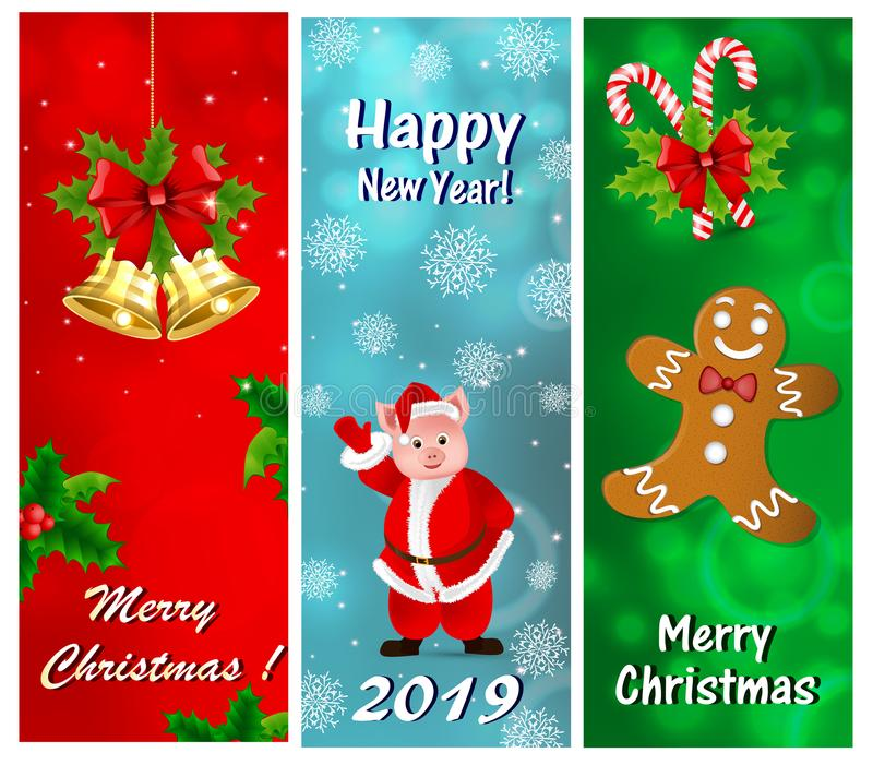 A set of greeting cards for the New Year and Christmas. With golden bells, holly, gingerbread and piglet in Santa Claus costume vector illustration