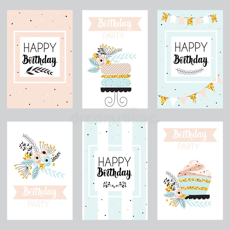 Download Set Of Greeting Cards In Pastel Colors Stock Vector