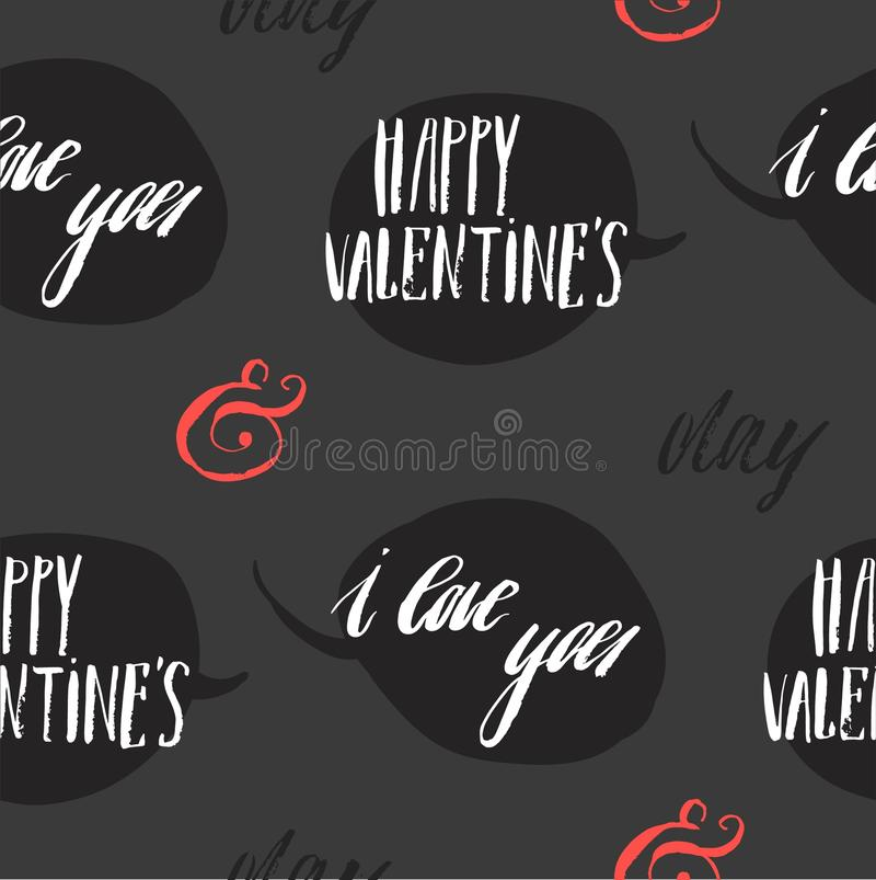 Set of greeting cards for Valentine s Day. Vector collection with brush lettering and hand written elements. Black, gold royalty free illustration