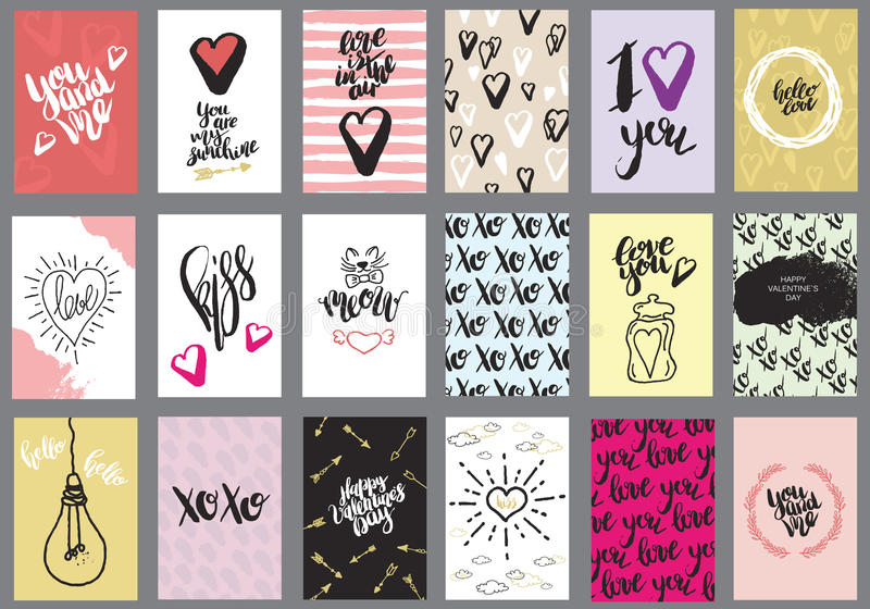Set of greeting cards for Valentine`s Day vector illustration