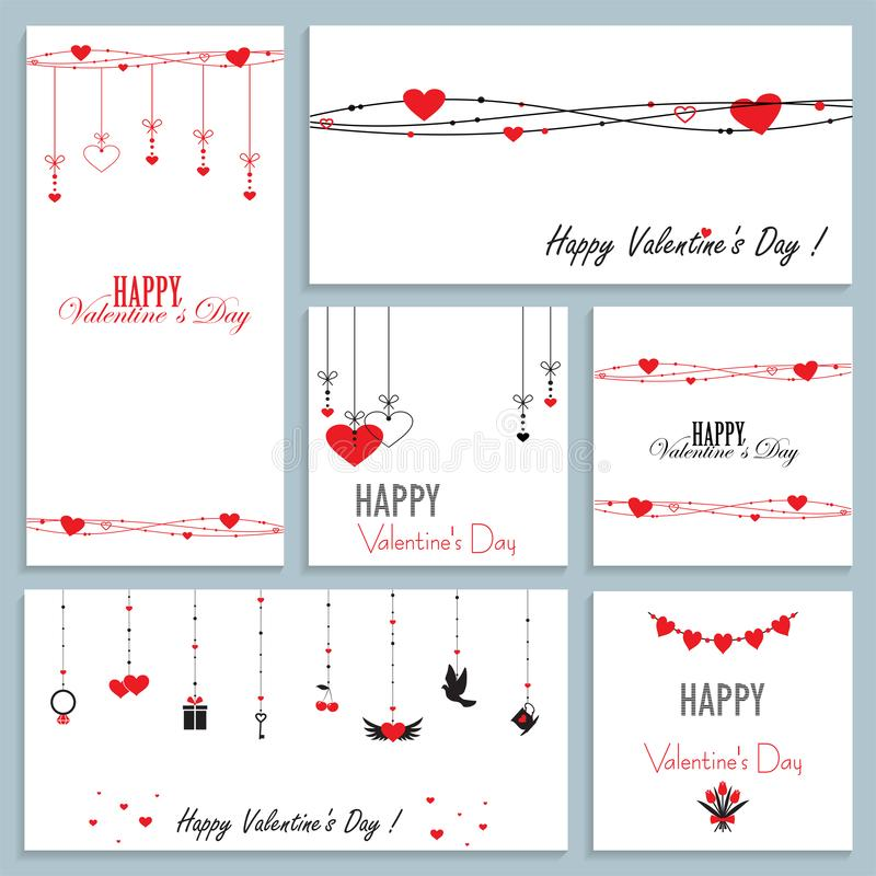 Set of greeting cards for valentine`s day, vector illustration of flat design royalty free illustration