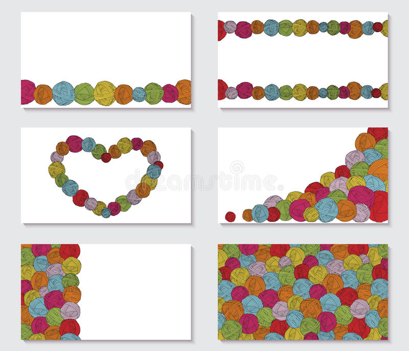 Set of greeting cards with yarn skeins. balls backgrounds. stock illustration
