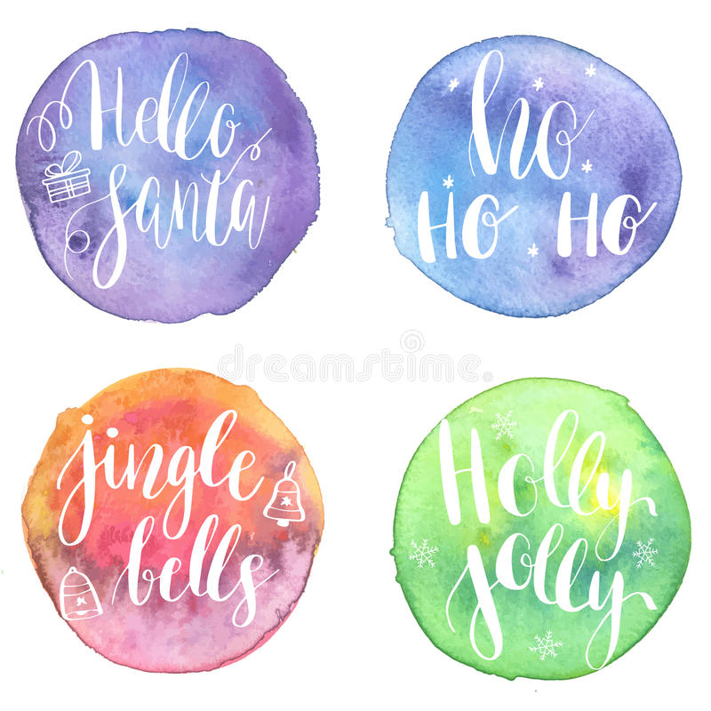 Set of Greeting Christmas cards with hand-drawn typography lettering phrases Holly Jolly, HoHoHo, Hello santa, Jingle bells on wat vector illustration