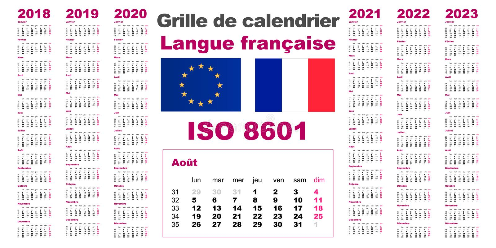 Set grid wall calendar France French, Gaulish, parleyvoo for 2018, 2019, 2020, 2021, 2022, 2023, ISO 8601 with weeks vector illustration