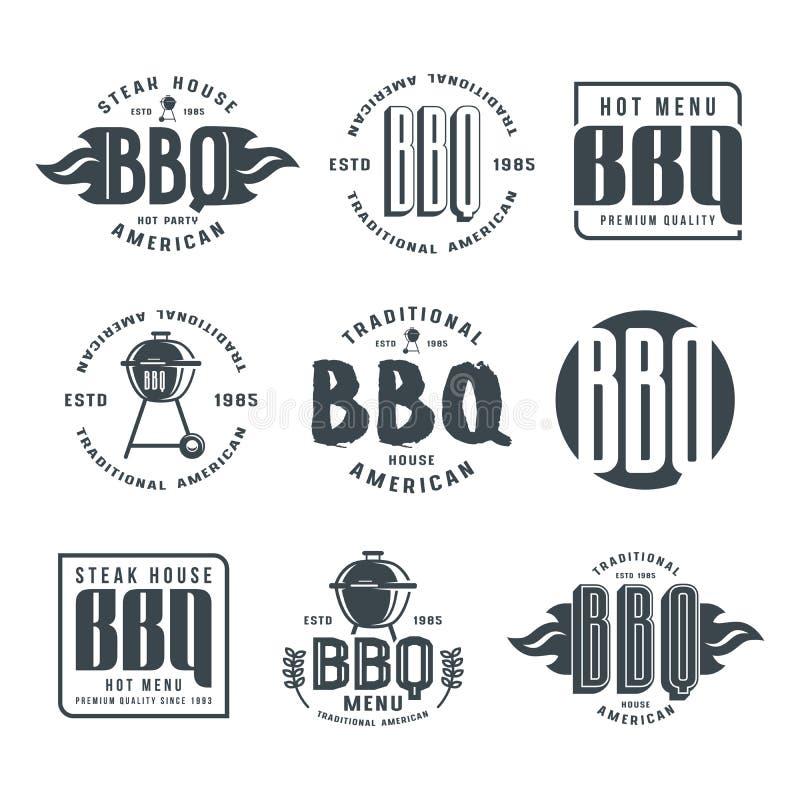 Set grillów emblematy i etykietki royalty ilustracja