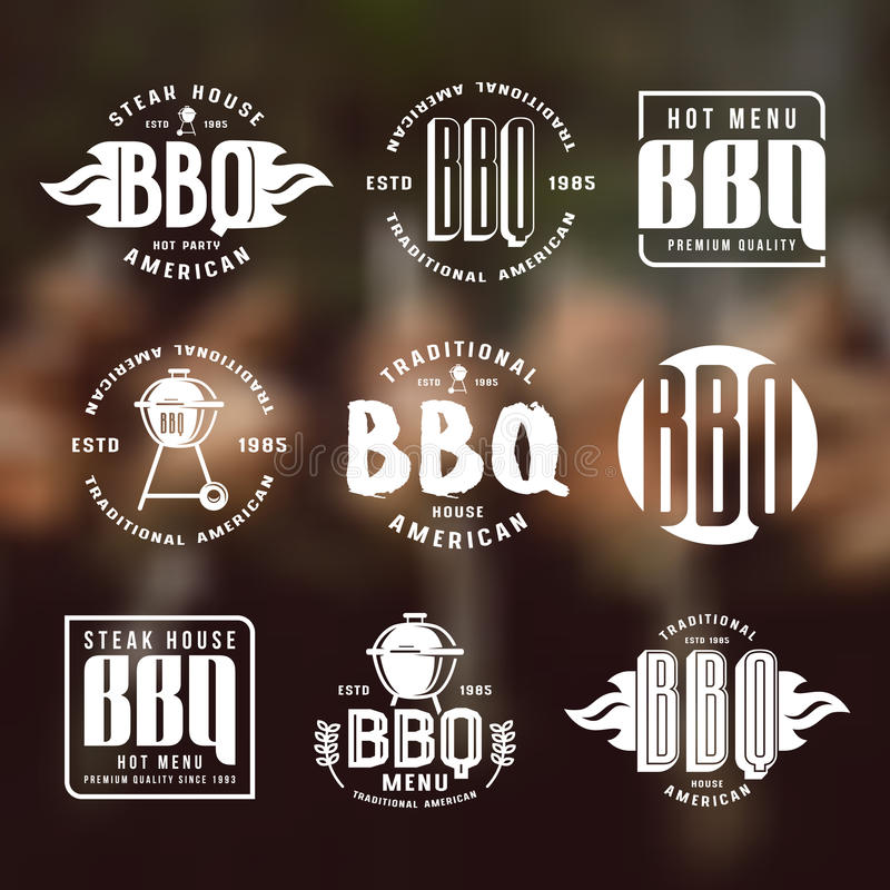 Set grillów emblematy i etykietki ilustracji