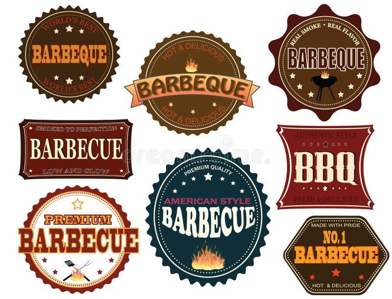 Set grill etykietki ilustracji