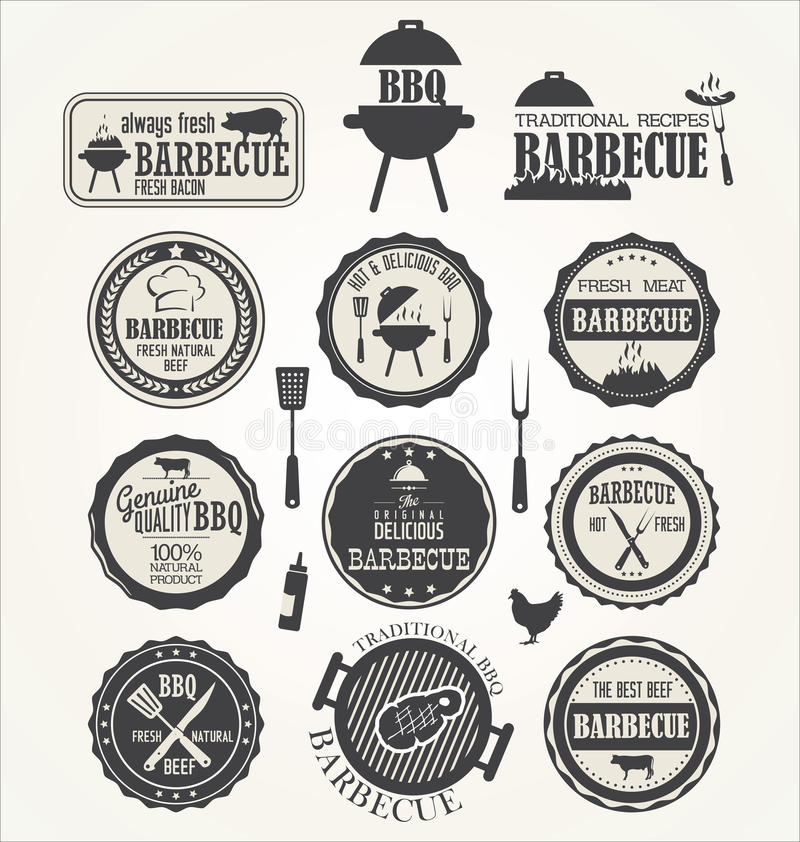 Set grill etykietki ilustracja wektor