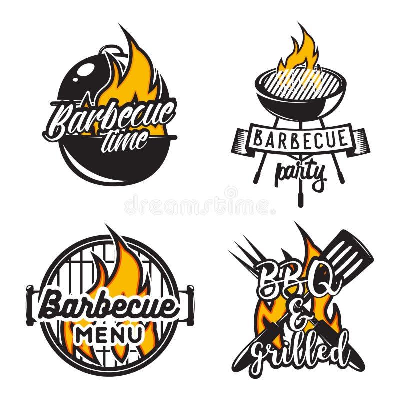 Set grill etykietki Kreatywnie wektorowa ilustracja ilustracja wektor