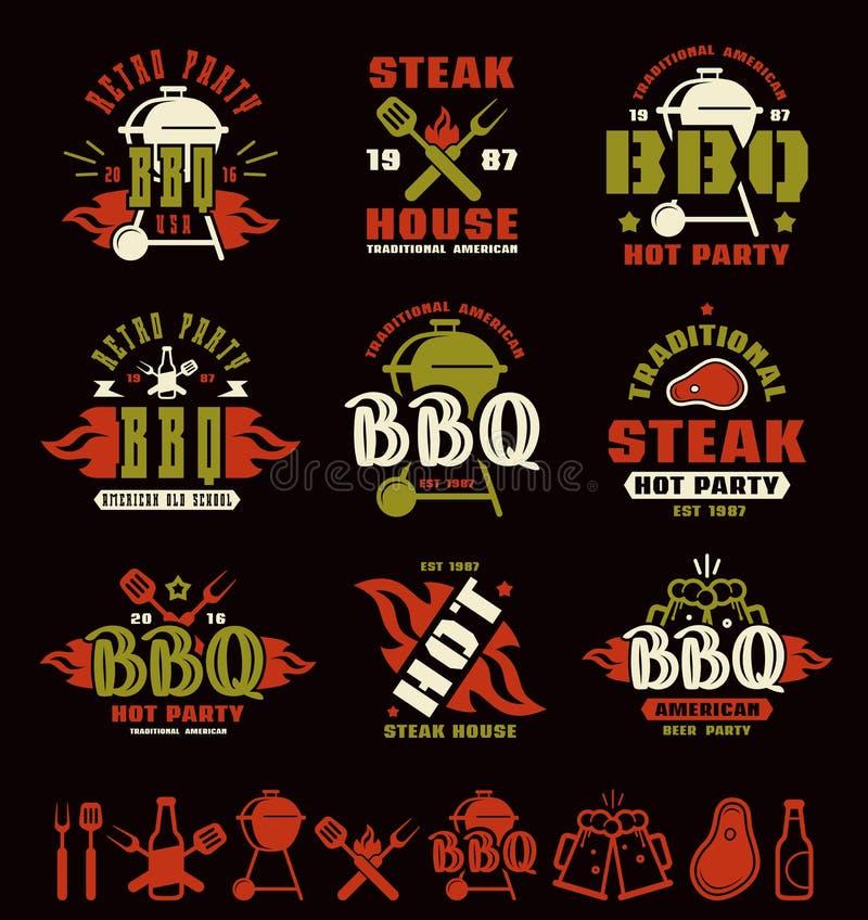 Set grill etykietki, odznaki i projektów elementy, ilustracja wektor
