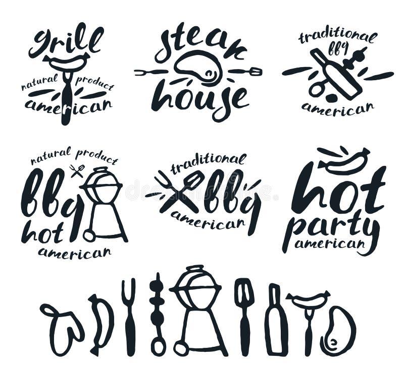 Set grill etykietki, odznaki i projektów elementy, royalty ilustracja