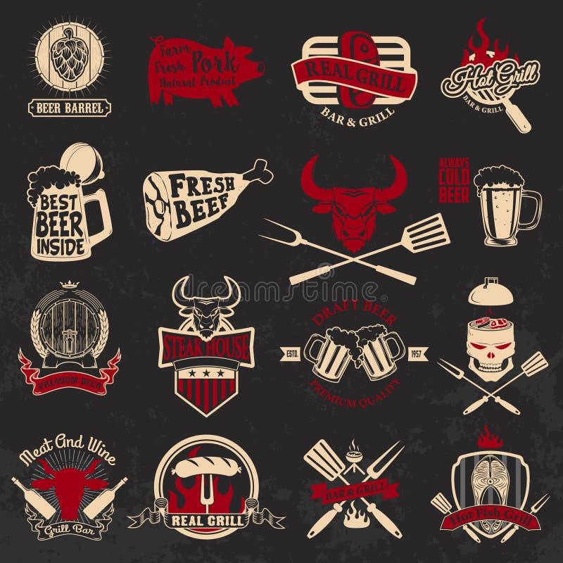 Set grill, grill, świeży piwo, steakhouse etykietki i e, ilustracji