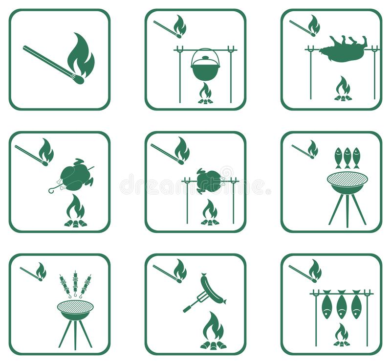 Set grill ikony royalty ilustracja