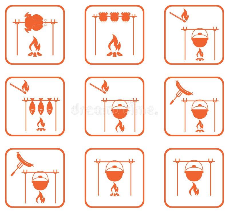 Set grill ikony ilustracji
