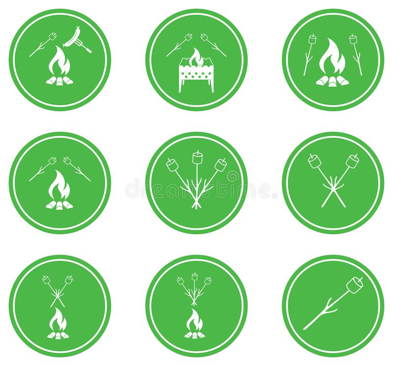 Set grill ikony ilustracja wektor