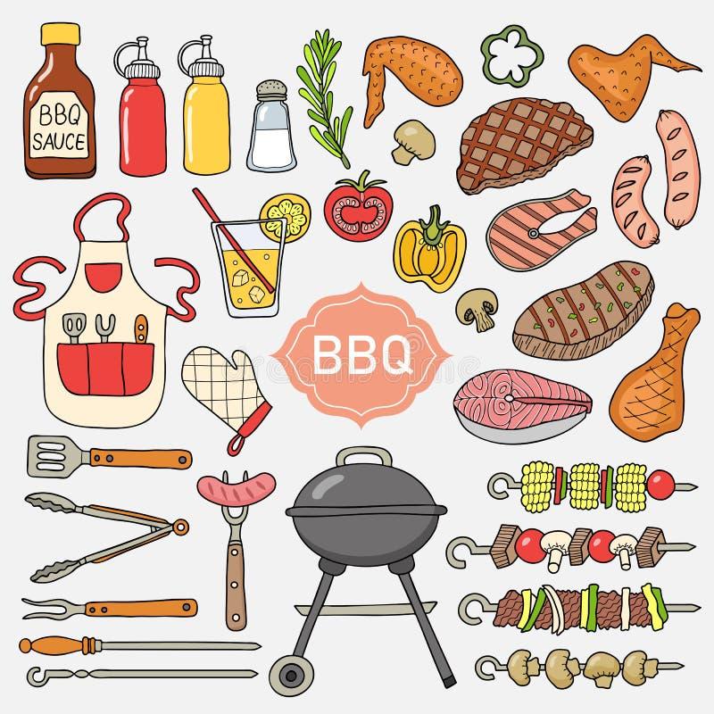 Set grill rzeczy ilustracja wektor