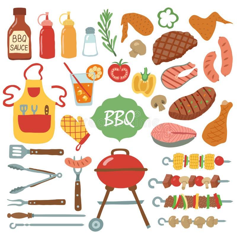 Set grill rzeczy ilustracji