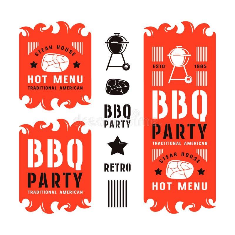 Set grill ulotki i etykietki ilustracji