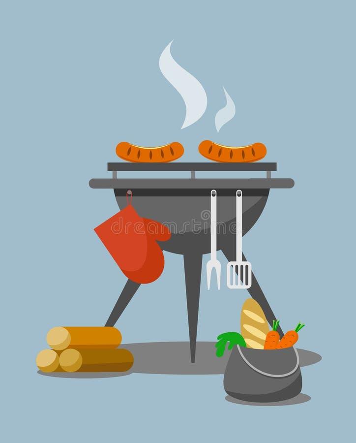 Set grill z kiełbasami, produkty w rondlu i łupka w mieszkaniu, projektujemy ilustracji