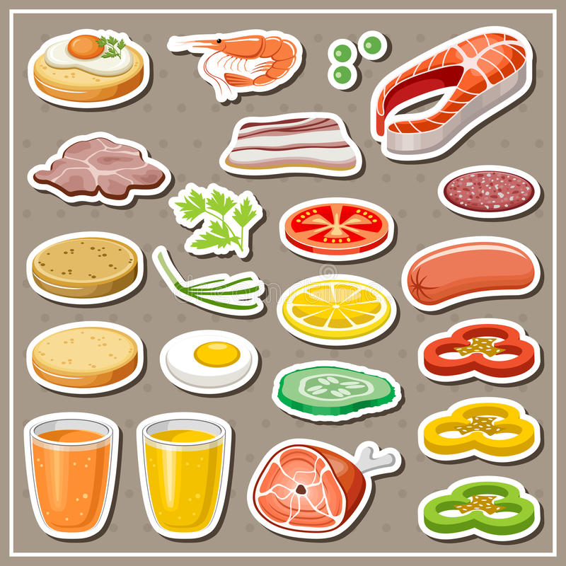 Set of grocery stickers. stock illustration