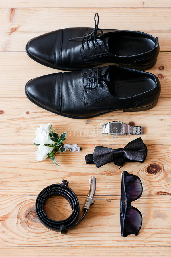 Set groom Butterfly shoes Belts Cufflinks Watches Men's Accessories stock image