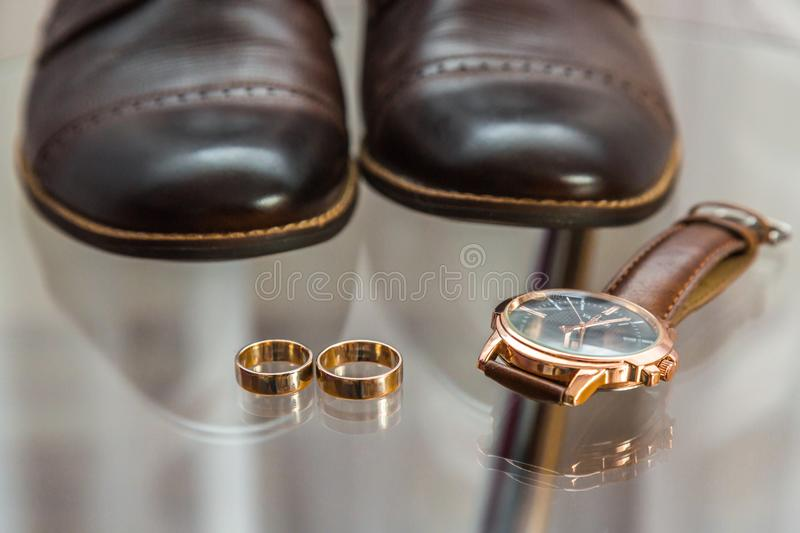 Set groom. Men`s Accessories in blue stock images