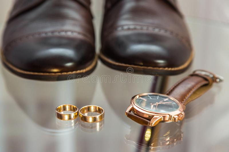 Set groom. Men`s Accessories in blue stock photo
