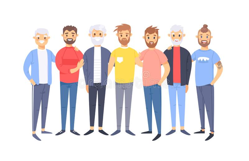 Set of a group of different caucasian men. Cartoon style european characters of different ages. Vector illustration american vector illustration