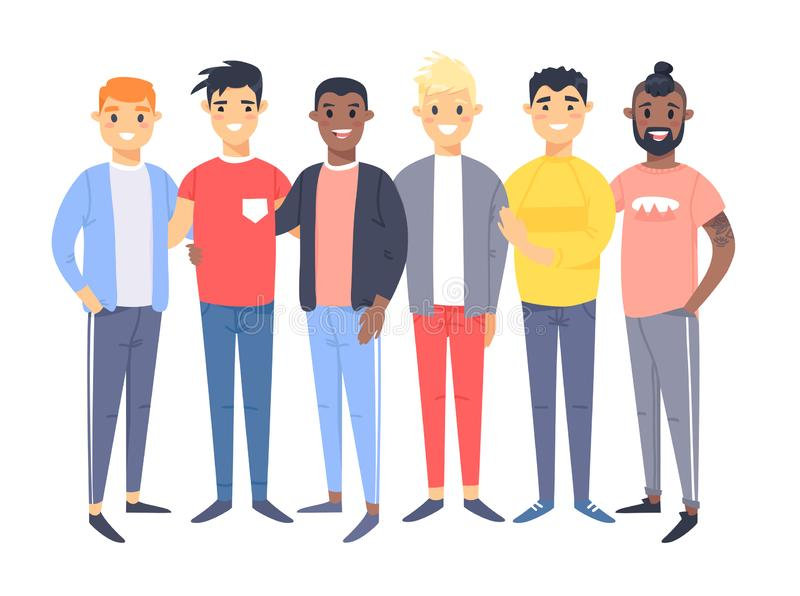 Set of a group of different men. Cartoon style characters of different races. Vector illustration caucasian, asian and african vector illustration