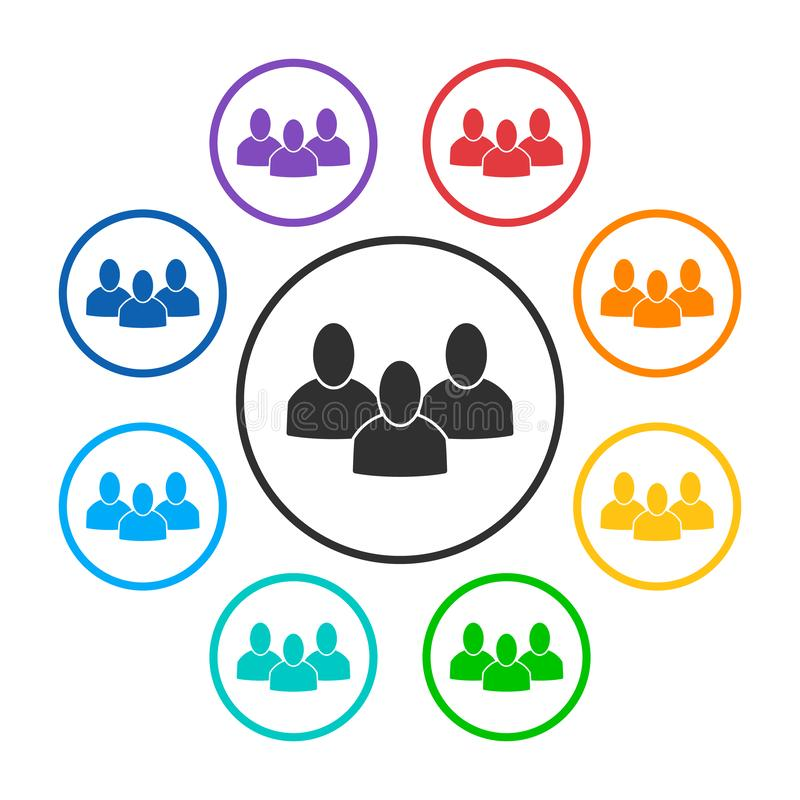 Set of group round icons with 3 peoples stock illustration