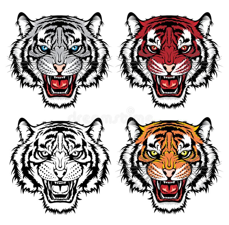 Set of growling tiger heads stock illustration