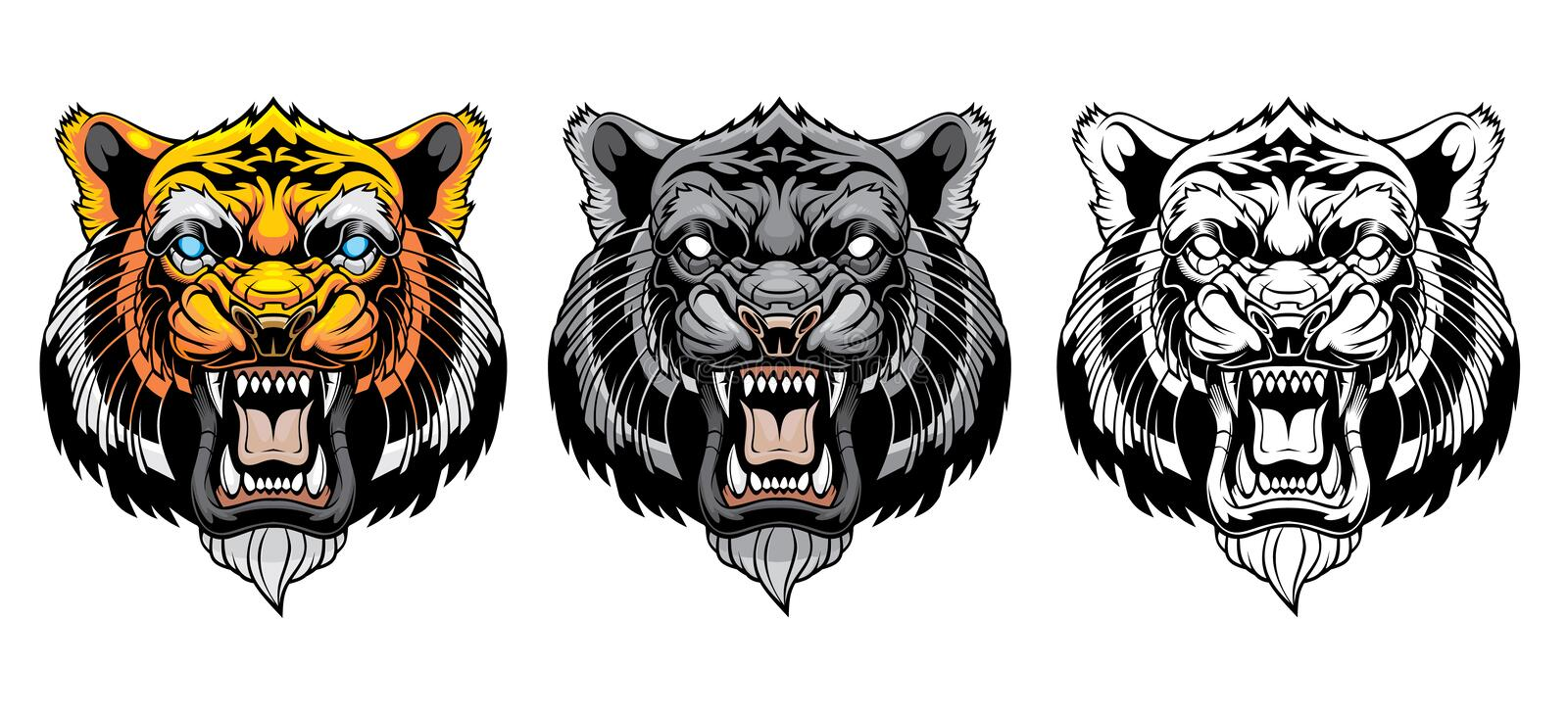 Set of growling tiger heads. royalty free illustration