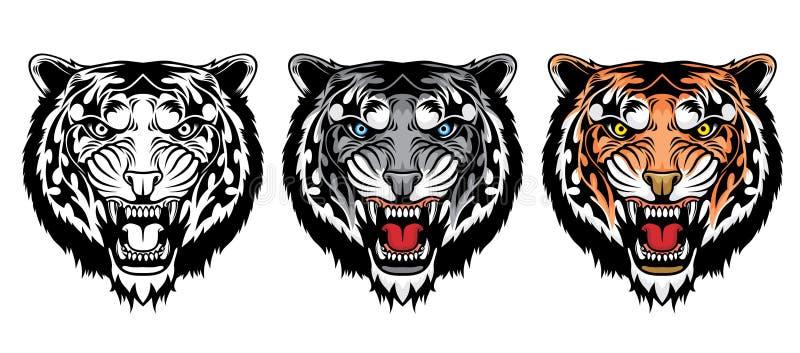 Set of growling tiger heads. vector illustration