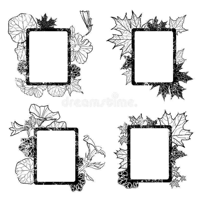 Download Set Of Grunge Autumn Leafs Frames Stock Image - Image: 20457981