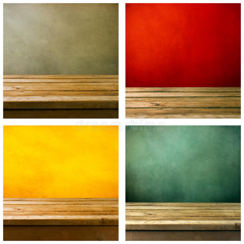 Set of grunge backgrounds. With wooden deck tabletop royalty free stock images