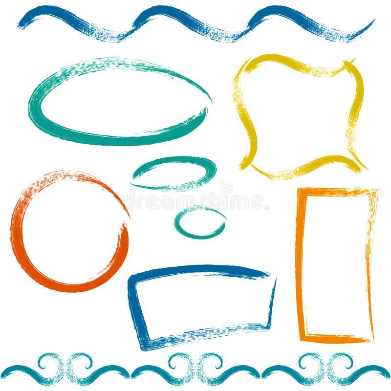 Set of grunge brush frames stock illustration